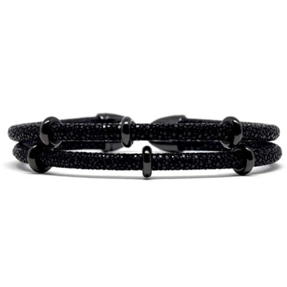 Double Stingray Bracelet | Black | Double Bone