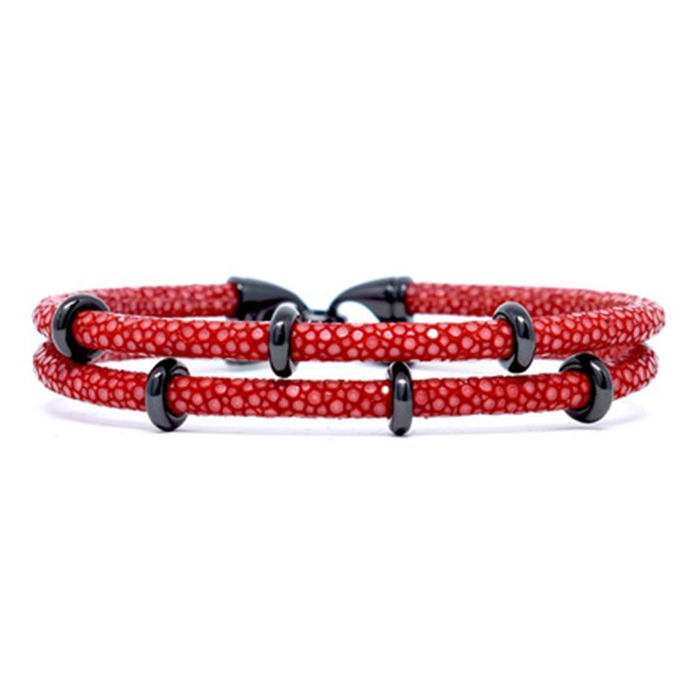 Double Stingray Bracelet | Red & Black | Double Bone