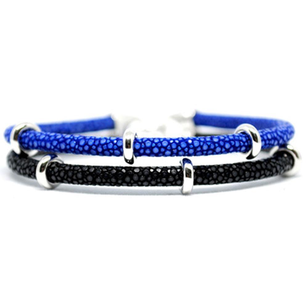 Double Stingray Bracelet | Blue/Black & Silver | Double Bone