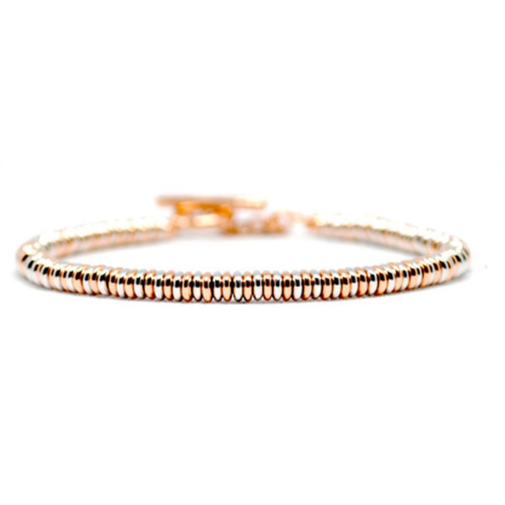 Single Beaded Bracelet   Rose/White Gold Beads   Double Bone