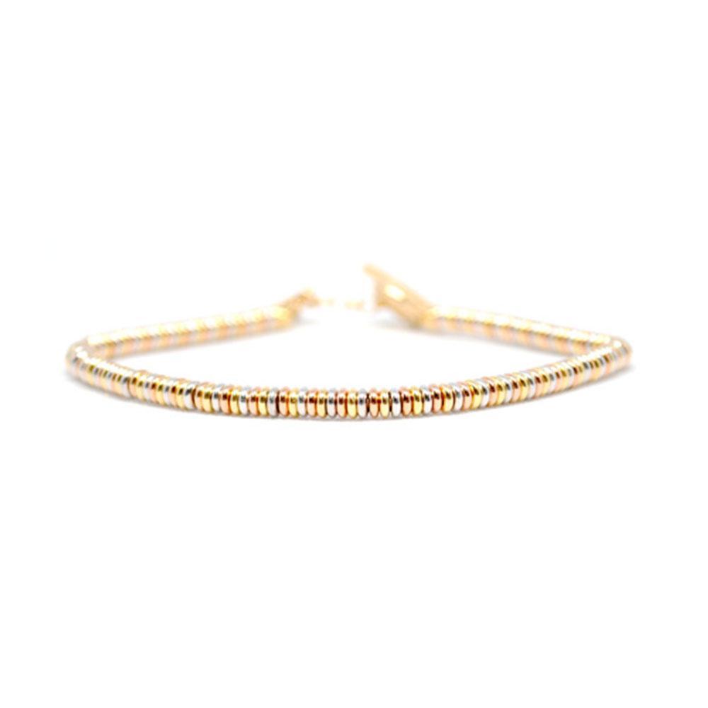 Single Beaded Bracelet | White/Rose/Gold Beads | Double Bone