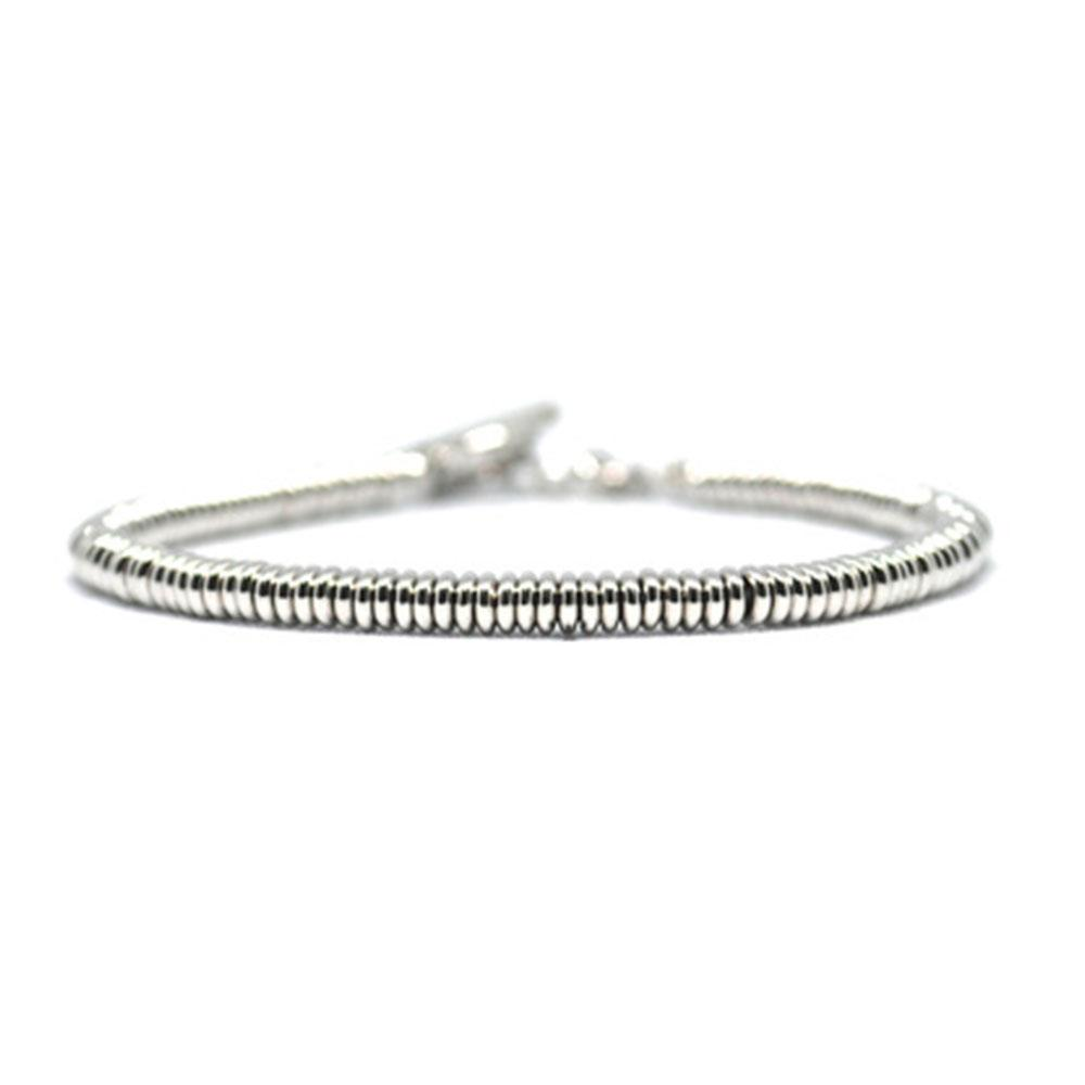 Single Beaded Bracelet | White Gold Beads | Double Bone