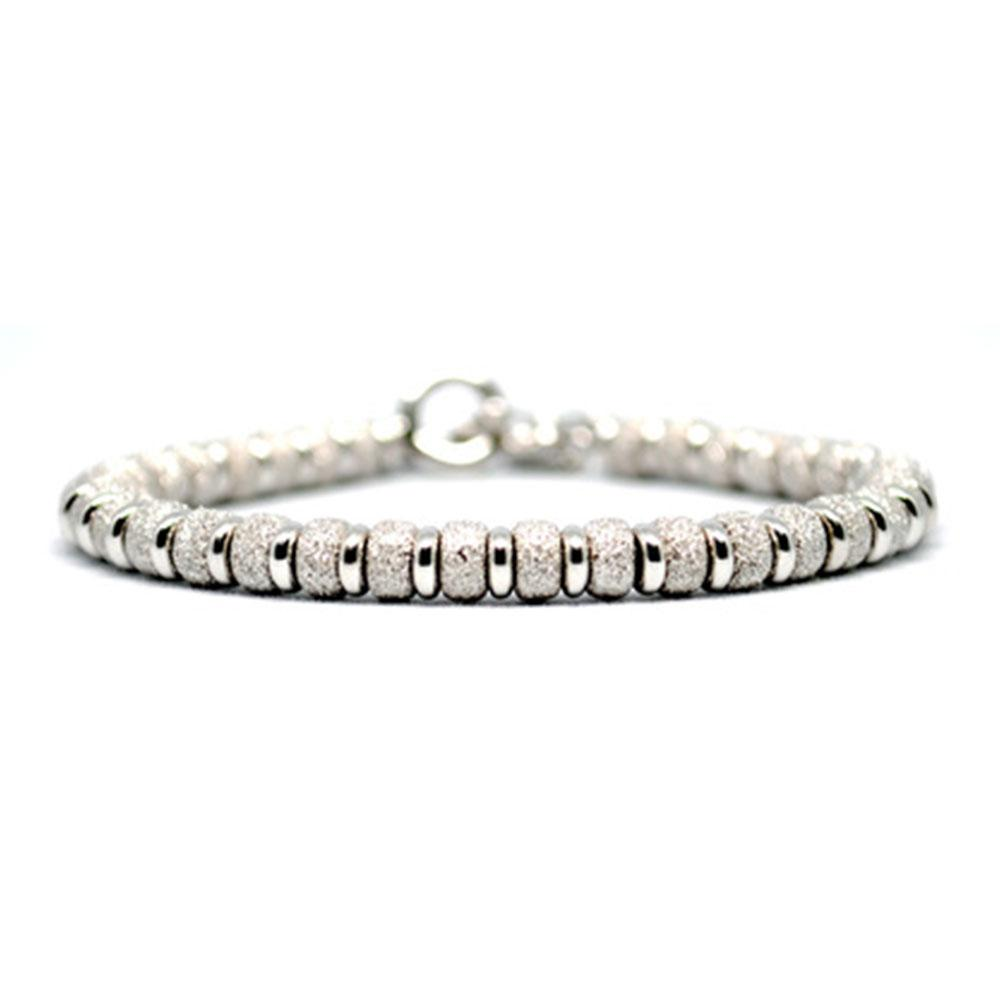 Multi Beaded Bracelet | White Gold Beads | Double Bone
