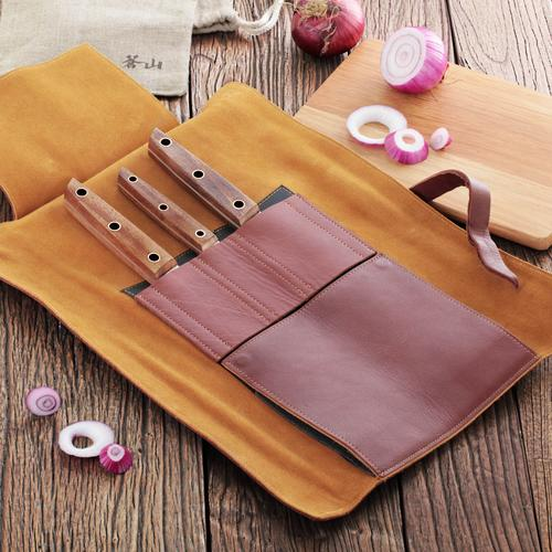 W Series | 4-Piece Knife Set | Teak / Leather | Cangshan