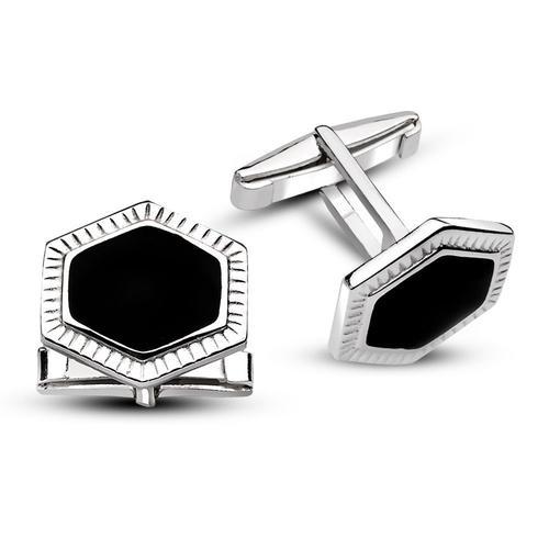 Flat Onyx Stone Cufflinks