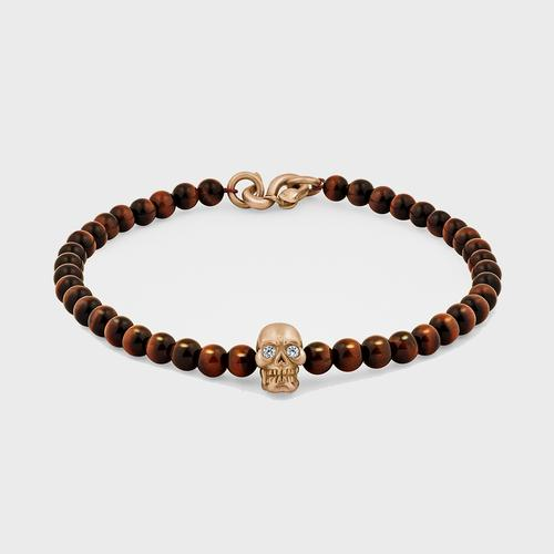 Skull Bracelet | 18K Gold with Diamond Eyes