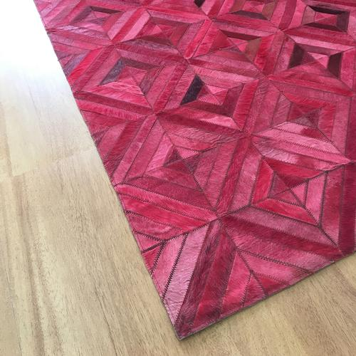 Leather Pink Brown Rug