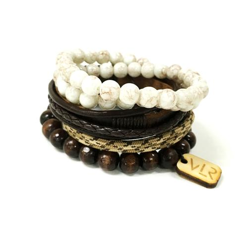 Variety Bracelet Set | Brown and Khaki