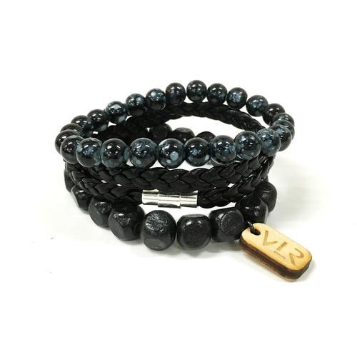 Square Bead Bracelet Set | Black