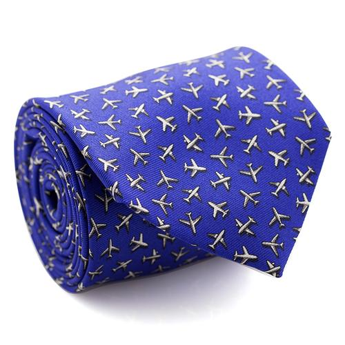 Necktie | Royal Blue with Airplanes Pattern