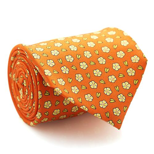 Necktie | Orange with Mini Flowers Pattern