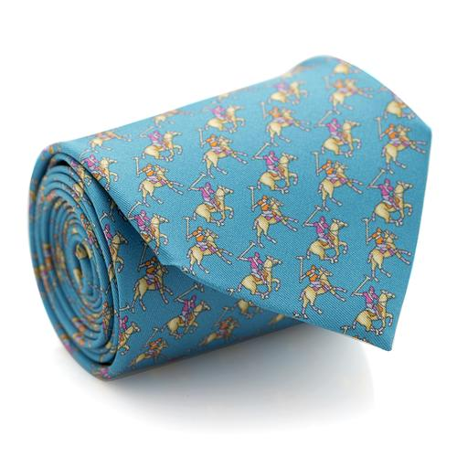 Necktie | Light Blue with Polo Players Pattern