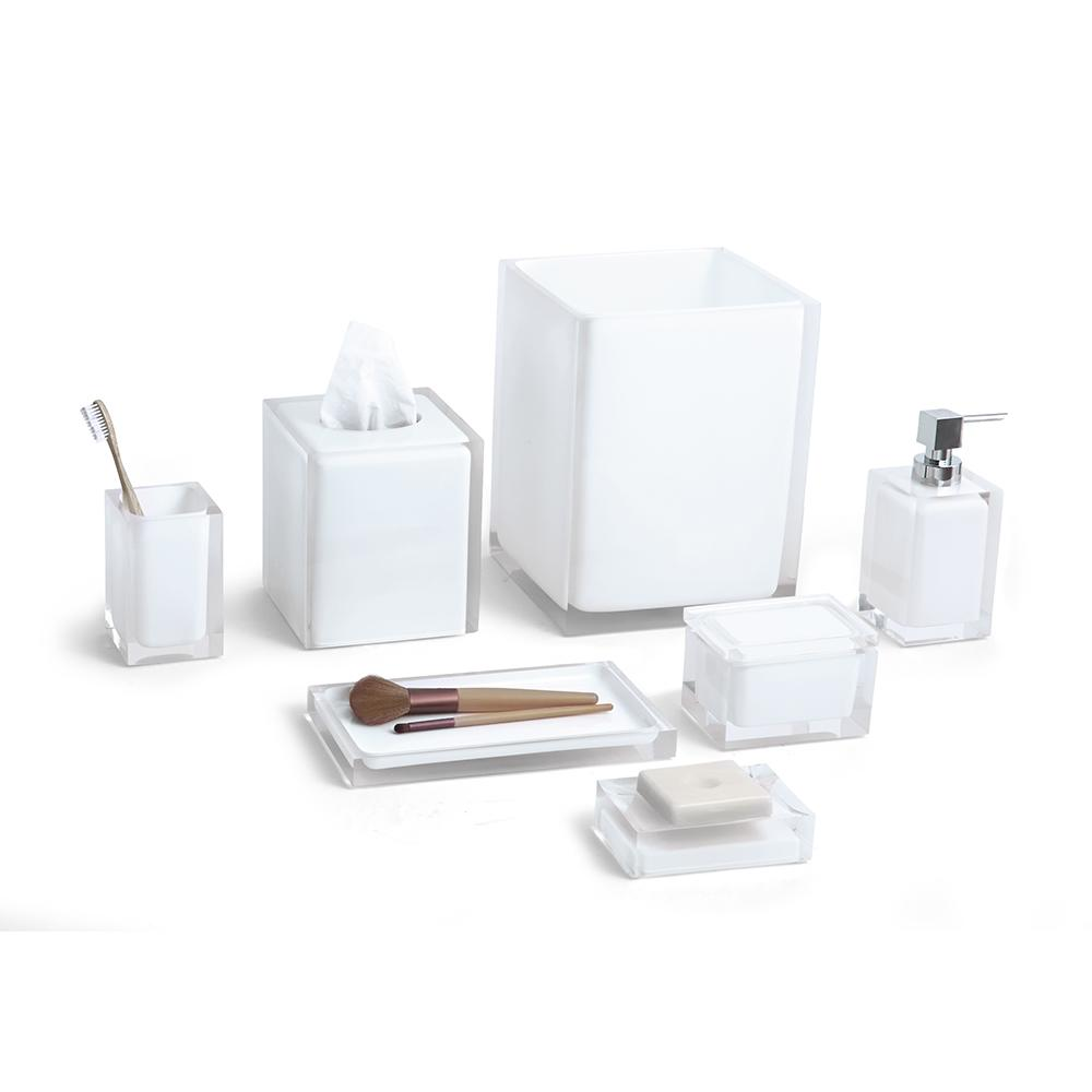 Cubix white 7 piece bath accessory set paradigm trends for White bathroom accessories set