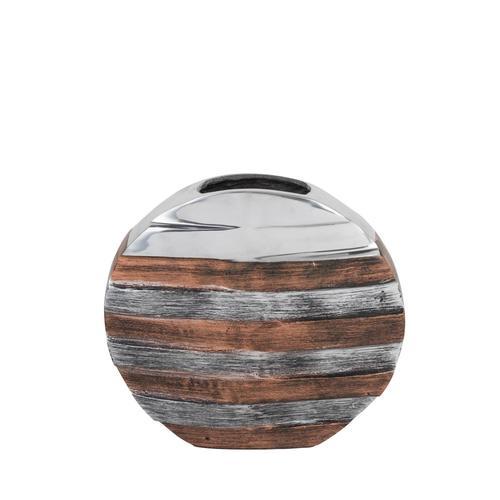 Tri- Tone Striped Round Vase