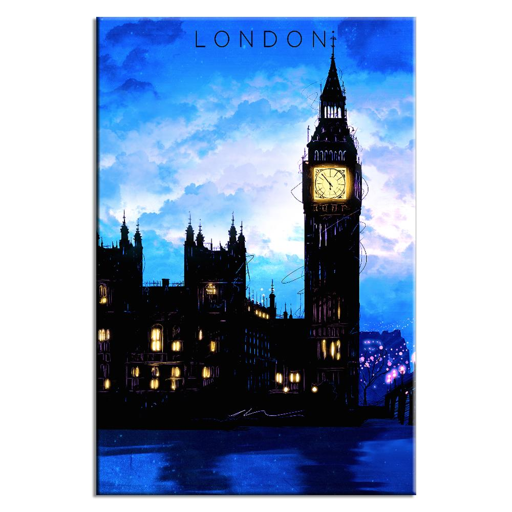 London Travel Poster Blue | Lynx Art