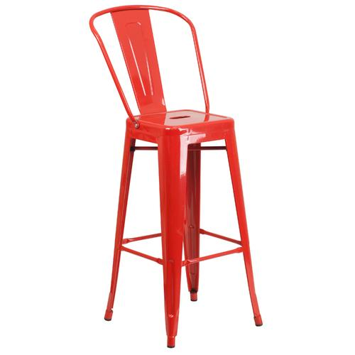 30'' High Indoor-Outdoor Barstool with Back