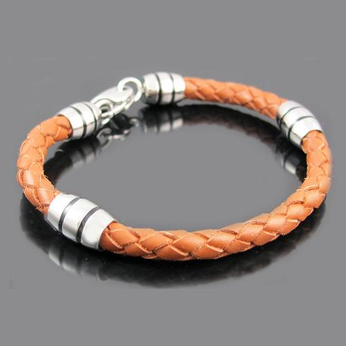Brown Leather Stainless Steel Double Stripe Bead Bracelet