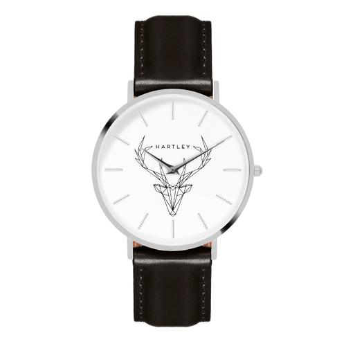 Woodland Silver | White Dial | Black Leather Strap