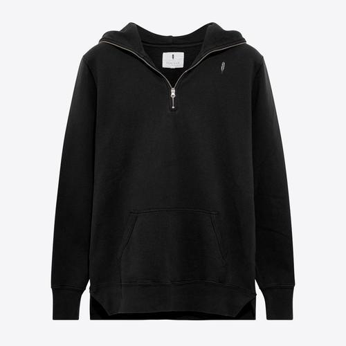 Zip Pullover Hood| Black