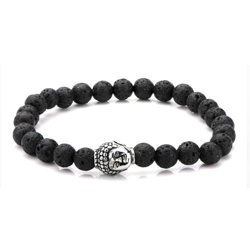 8mm Black Lava Satin Finish Beads  Bracelet
