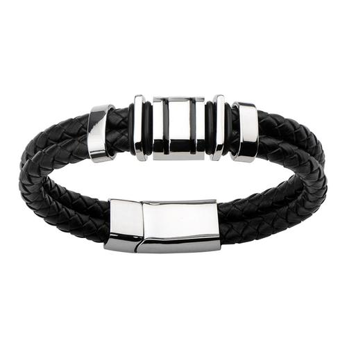 Men's Double Strap Black Braided Leather