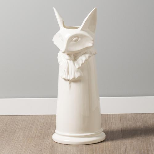Notable Fox White Ceramic Umbrella Stand