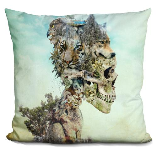 Riza Peker 'Nature Skull' Throw Pillow