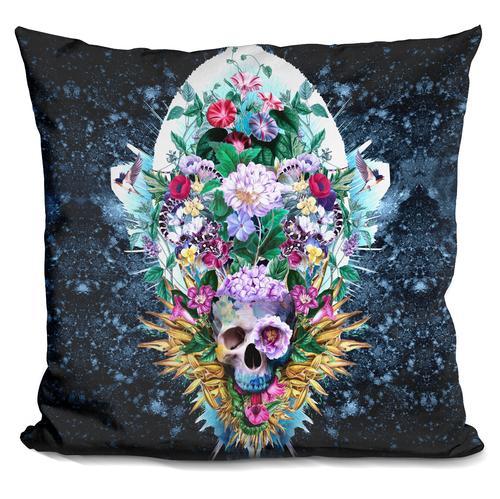 Riza Peker 'Skull Vivid VI' Throw Pillow