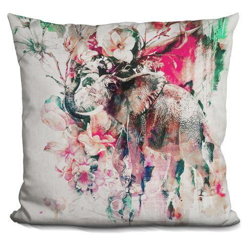 Riza Peker 'Watercolor Elephant and Flowers' Throw Pillow