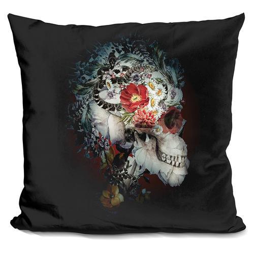Riza Peker 'Skull I Black Series' Throw Pillow