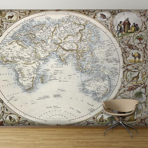 Vintage far east world map wall mural for Antique world map mural