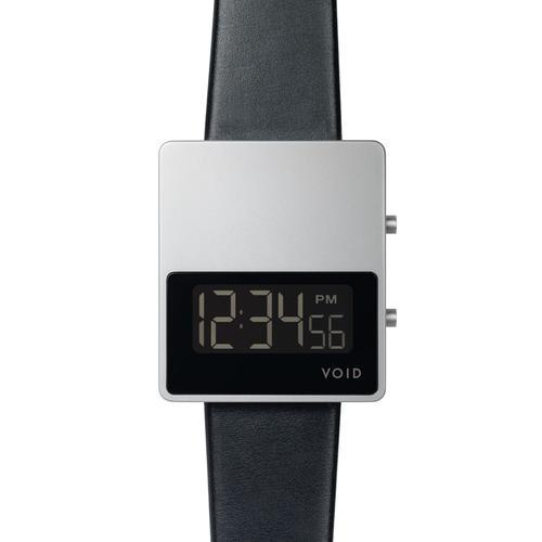 Matte Silver LCD w Black leather strap   Silver buckle