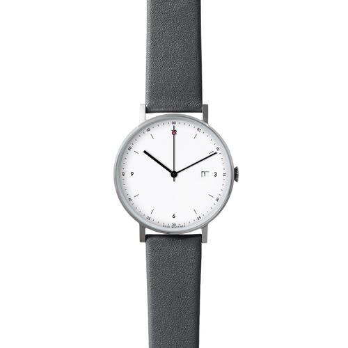 Silver Round Date   Dark Grey leather strap   White dial